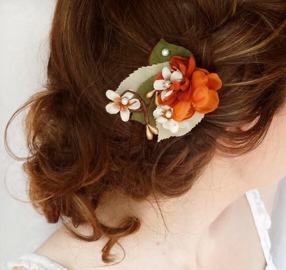 fall hair accessories fall wedding hair piece orange hair