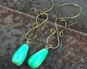 Annual Baby Sale Australian Blue Agate Teardrop dangle Earrings