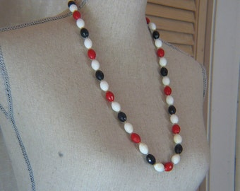 Red White and Blue Plastic Faceted Necklace
