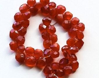 """Carnelian Beads, Faceted Teardrop, 5-7mm, 7.5"""" strand"""