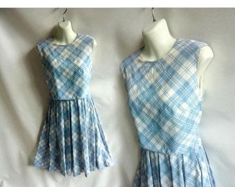 Vintage 50s Dress size M Blue Gingham Check Plaid Rockabilly Box Pleat 60s Mod
