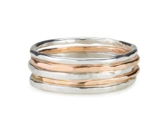 Yellow Gold filled 12ct and sterling silver skinny stack rings. set of five rings.