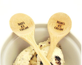 Mom's and Dad's Ice Cream Spoons Personalized Wooden Spoons Engraved Wood Spoons Father's Day Spoons Dad Spoon Picnic Spoon Eco Friendly