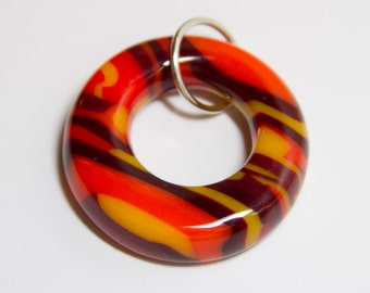 Orange/Red/Yellow fused glass donut pendant - 210