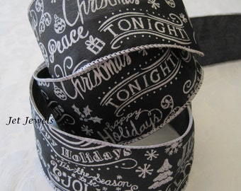 Black Christmas Ribbon, Black and White Ribbon, Script Ribbon, Merry Christmas Ribbon, Chalkboard Ribbon, Wire Edge 2.5 inch 5 Yards
