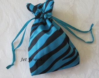 20 Drawstring Bags, Jewelry Gift Bags, Gift Bags, Turquoise Blue Bags, Favor Bags, Zebra Animal Print, Sachet Bags, Drawstring Pouch 3x4