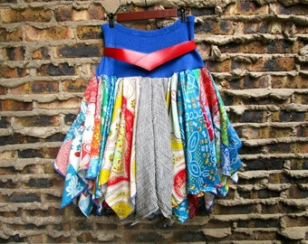 M-L-XL OOAK Multi Colored Bohemian Gypsy Pixie Fairy Skirt// Reconstructed// Upcycled// emmevielle