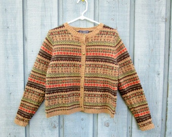 RESERVED// Shetland Wool Fair Isle Cardigan Sweater// Small// Fall Colors// emmevielle