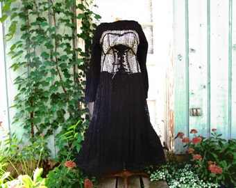 L-XL Bustier Black White Lace Upcycled Long Dress// emmevielle