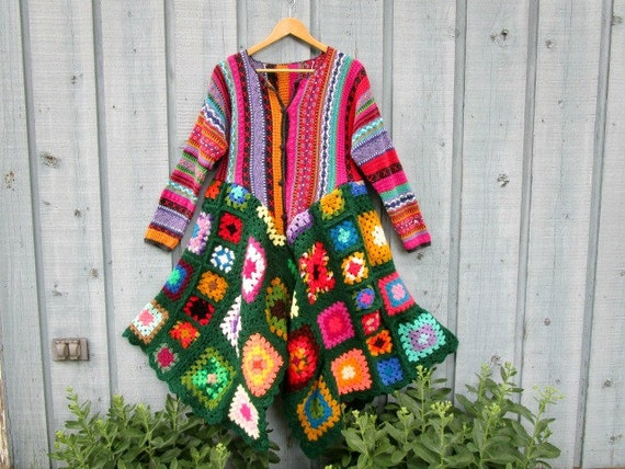 Lg. Multi Colored Granny Square Sweater Coat// Upcycled// Reconstructed// emmevielle
