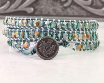 Thistle Bracelet Boho Jewelry Teal Wrap Bracelet Iridescent Glass Bead Leather Jewelry 3x Bohemian Jewelry Gray Bracelet Spring Fashion