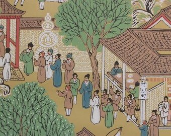 1950s Vintage Wallpaper Chinoiserie Market Day by the Yard