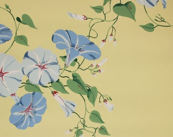 1940s Vintage Wallpaper Blue Morning Glories on Yellow by the Yard