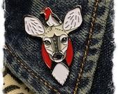 Deer and Woodpecker- enamel lapel pin- SINGLE ITEM