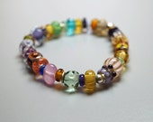 Colorful Glass // Hand Blown Lampwork // Colored Glass // Beaded Bracelet