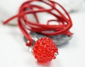 Murano Glass Jewelry // Red Raspberry // Murano Glass // Long Necklace
