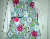 Girls Corduroy Jumper With Matcing Handbag, Handmade, Dress, Mod Print, Birthday Gift, Cotton Print, Holiday Dress, Preteen, Toddler