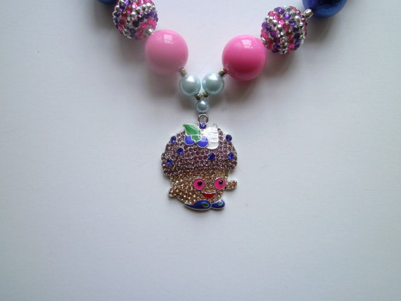 Shopkins Girls Cupcake Mini Muffin Necklace, Handcrafted,Bubblegum Bead Necklace, Chunky Bead Necklace, Necklace for Kids,Rhinestone Pendant