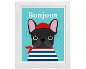 38D Dog Print - Bonjour Black French Bulldog Wall Art - Frenchie Dog Wall Art - French Bulldog Print - Chevron Dog Art - Funny Dog Print