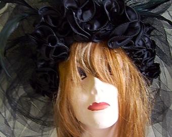 Costumes#Headdress#Headwear#mardi gras#masquerade#hats#Tulle Headpiece#black veil#party wear#fashion#style#2016 trends#2016 fashion#