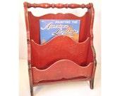 vintage magazine bin - red shabby painted wooden rack basket