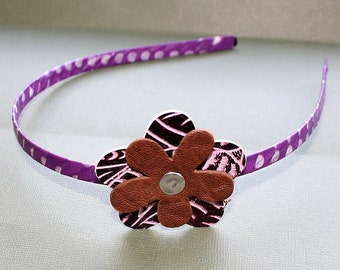 CLEARANCE - Purple and Brown Wrapped Head Band - Washi Tape and Metal Headband - Leather Flower