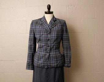 Vintage 1950's Blue Gray Plaid Suit Jacket Skirt S