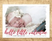 valentine birth announcement, modern baby announcement, hello baby announcement, Double sided printable baby announcement card