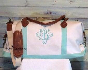 Weekender Tote Bag - Canvas Weekender Bag- Weekender Travel Bag- Monogrammed Weekender Bag