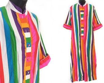 70s 80s Catherine Ogust Striped Penthouse Gallery Maxi Dress One Size M L XL