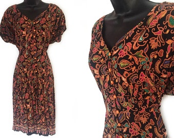90s Black with Floral Print Rayon Dress L