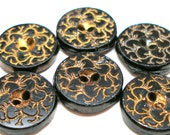 6 Antique GLASS buttons, Victorian black glass with gold luster.