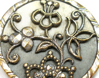 """XL Victorian button, Antique celluloid & metal with floral pattern, 1.25"""""""