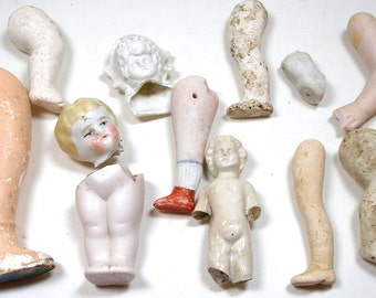 Antique DOLL Parts, Frozen Charlotte heads, arms & legs for assemblage, mixed media.