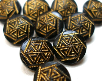 1920s BUTTONS, 10 Petite Antique Czech Black glass with yellow.