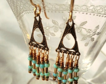 Wire wrapped Triangle Brass Stamping earrings with little dangles, 14kt gold filled ear wires