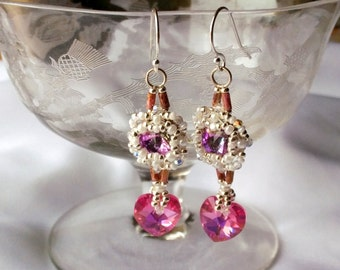Hand Beaded Bling earrings, With 8mm pink Swarovski Chatons, 2mm Crystals and  Pink Crystal Hearts, Sterling Silver ear wires