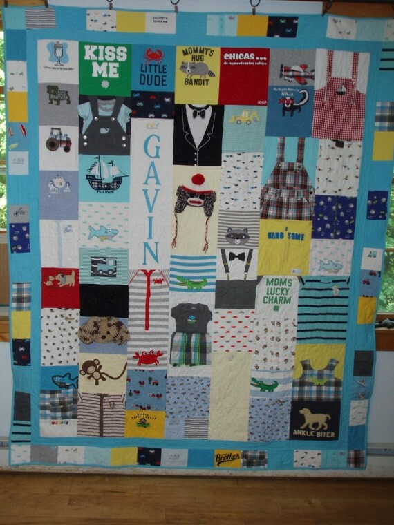 CUSTOM ORDERS-TWIN Size Baby Clothes Quilt (elaborate borders)