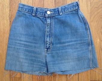 "Vintage 1970s Rainbow high-waisted cut-off jean shorts, 25"" waist"