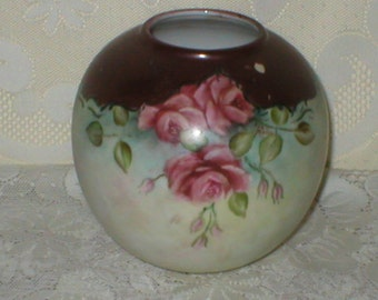 Rose Bowl Painted Portrait Pink Roses Vase Vintage Antique