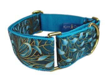 Dog Martingale Collar - Blue Green Dog Collar - Fancy Dog Collar - Collar for Greyhounds - Whippet Dog Collar - Gold Dog Collar