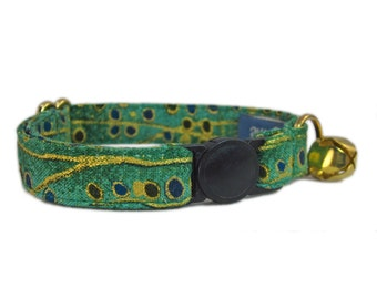 Cat Collar Breakaway Buckle - Green Cat Collar - Fancy Cat Collar - Art Deco Cat Collar - Breakaway Cat Collar - Custom Cat Collar