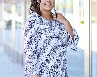 LillyAnnaKids Ladies CHRISTIN Black White Polka Dot Top Shirt LALA PLUS