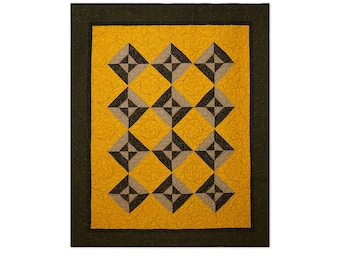 Autumn Quilt Modern Patchwork Hour Glass Block Free USA Shipping Gold Brown Black