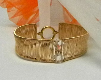 Hand Woven 14kt gold filled Slave Cuff Bracelet with Gold Plated Stainless Captive Segment Clasp