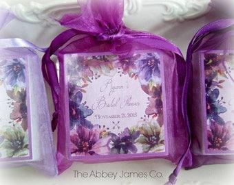 Watercolor Plum Florals, Bridal Shower,  Baby Shower, Soap Favors, Set of 12