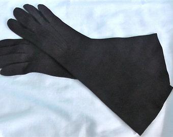 Vintage Black Suede Elbow Gloves