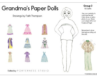 Grandmas Paper Dolls -  1 Doll To Customize And 10 Beautiful Outfits Drawn By Grandma Faith - Group 3 Download Digital PDF