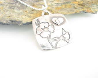 Flowers Grow with Love Necklace - Hand Made from Fine Silver and Sterling Silver