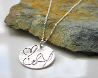 """Signature Jewelry -  Loved Ones Handwriting on a Fine Silver 1"""" Pendant - Customized"""